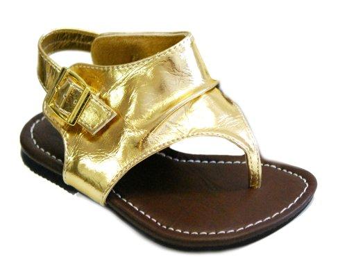 Aroma Jr Girls Summer Cute Gladiator Straps Sandals (10, Gold) front-305050