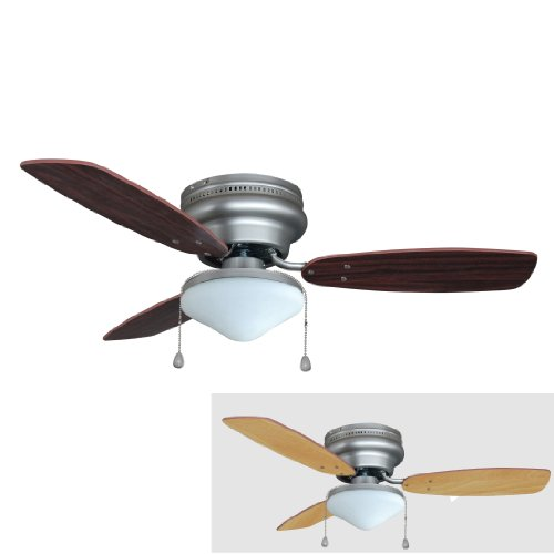 Hardware House 17-5975 Satin Nickel 42-Inch Flush Mount 3-Blade Ceiling Fan with Light Kit, Cherry or Beechwood Blades (Fan Blade Less compare prices)