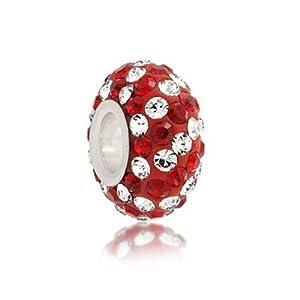 Bling Jewelry Dark Red Swarovski Crystal Stripe Silver Bead Fits Pandora
