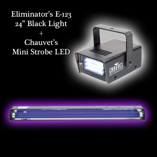 "Halloween Pack 24"" Black Light & Mini Strobe Led Effect Lighting"