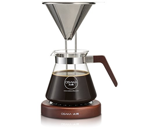 Osaka Pour-Over Coffee Dripper with Wood Stand - Full Brewing Set for a Homemade Pourover - 20oz. Capacity.