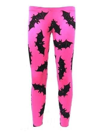 Neon UV Bats Flock Print Leggings (S/M)
