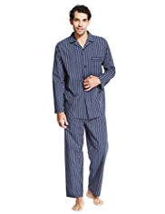 Pure Cotton Revere Collar Multi-Striped Pyjamas