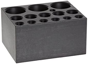 "Talboys 949107 Anodized Aluminum Combination Test Tube Single Heat Block, 14 Well, 3.75"" Length x 3"" Width x 2"" Height, For 6mm, 12mm/13mm, 25mm"