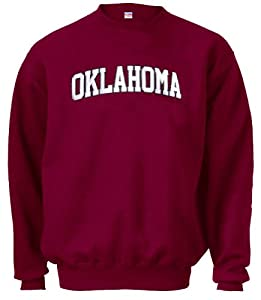 Oklahoma Sooners Crimson Embroidered Collegiate Crewneck Champion Sweashirt by Champion