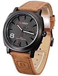 Rise N Shine Curren Brown Belt Black Dial Casual Stylish Watch For Mens And Boys