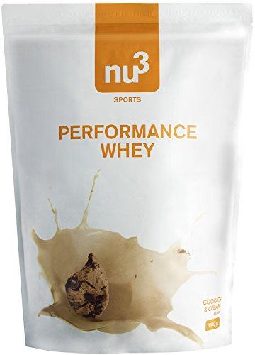 nu3 Performance Whey Cookies & Cream, Pulver, 1kg - Für besonders leckere Whey-Protein-Shakes mit viel Eiweiß und dabei sehr gut löslich; Das Pulver für anspruchsvolle Athleten