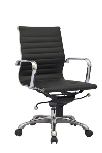 Office Chair Synthetic Leather Computer Desk conference PU Ergonomic Black 3441