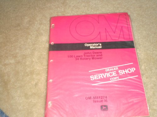 Operator'S Manual 110 Lawn Tractor & 34 Rotary Mower Dealer Service Shop Copy