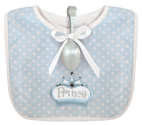 Stephan Baby Infant Boy Polka Dot Bib and Silver Plated Bent-Handled Spoon Gift Set, Little Prince