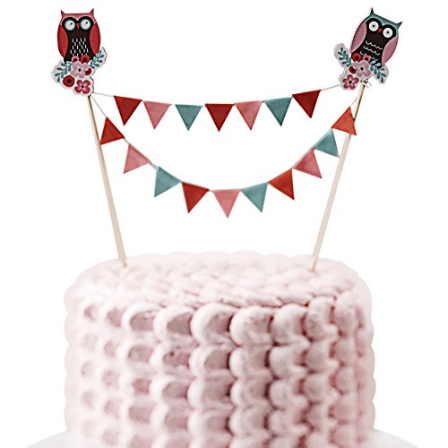 Ginger Ray Patchwork Owl Cake Bunting Decoration Party Topper, Mixed