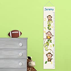 Kids Canvas Height Chart Personalized Butterflies and Blooms Height Chart