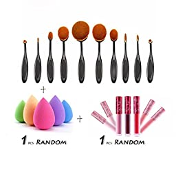 Laimeng, 10PCS Toothbrush Brushes+1 PC Sponge Puffs+1 PC Lip gloss combination Make up Tools