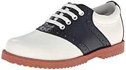 Academie Gear Honor Roll Saddle Shoe (Toddler/Little Kid/Big Kid),White/Navy,10 M US Toddler
