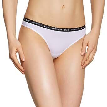 """DOLCE & GABBANA D&G """"Mini Logo"""" femme string élastique coton (blanc/noir)"""