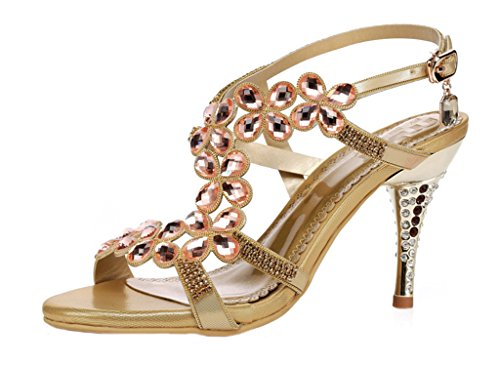 Littleboutique High Quality Women¡¯S Gemstone Summer Sandals Heel Dress Sandals Strappy Ankle Strap Sandals Cut-Outs Shoes Gold 5