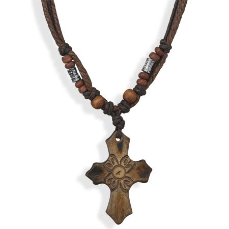 Multistrand Cord Fashion Necklace with Carved Cross (14 - 18 Inch)