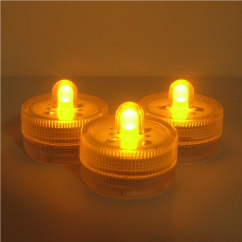 Lily'S Home Submersible Battery Led 10 Lights~Amber~Wedding~Tea Light