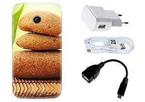 Spygen Motorola Moto E (1st Gen) Case Combo of Premium Quality Designer Printed 3D Lightweight Slim Matte Finish Hard Case Back Cover + Charger Adapter + High Speed Data Cable + Premium Quality OTG