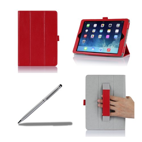 Procase Apple Ipad Air 2 Case - Standing Leather Smart Cover Case Exclusive For Ipad Air 2, Built-In Hand Holder, With Bonus Procase Stylus Pen (Ipad 6Th Gen, Ipad Air 2Nd Gen, Air2) (Red)