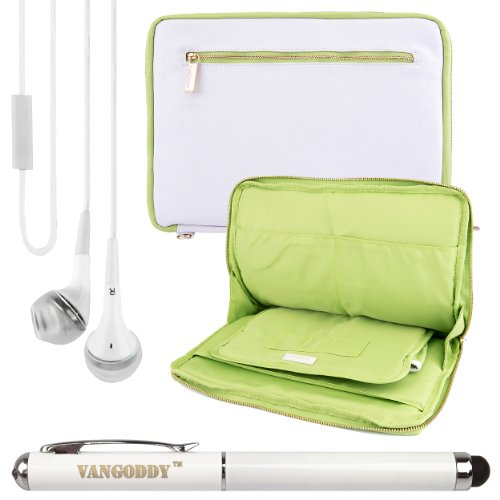 Premium Leather Protecitve Sleeve Bag Case For Visual Land Prestige Pro 8Q 8-Inch Tablet + Laser Stylus Pen + White Headphones (White & Green)