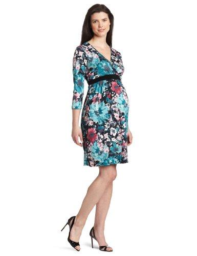 Three Seasons Maternity Women's 3/4 Sleeve Surplice Floral Dress