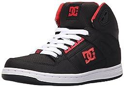 DC Women\'s Rebound High TX Skate Shoe, Black/Poppy Red, 10 M US