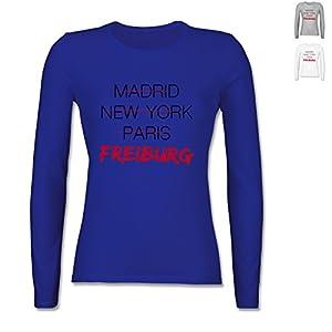 BCTW013 Damen Frauen Langarmshirt langärmelig Sweat Shirt T-Shirt Women-Only Longsleeve - Städte - Weltstadt Freiburg