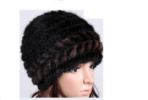 Luxurious Mink Hair Hat Winter Warm Fur Hat Black&coffee