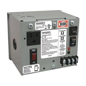 Functional Devices (RIB) PSH40AB10 Enclosed Single 40VA 120 to 24Vac UL class 2 power supply 10A main breaker