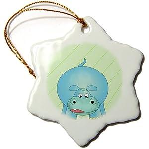 3dRose orn_51727_1 Cute Cartoon of The Zoo Animal The Baby Hippo, Hippopotamus-Snowflake Ornament, Porcelain, 3-Inch