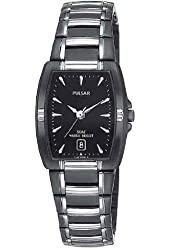 Pulsar Women's PH7055 Dress Sport Black Ion Plated Stainless Steel Watch