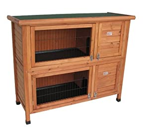 BUNNY BUSINESS Double Hutch Rabbit/ Guinea Hutch Run with Deluxe Hutch Cover, 48-inch