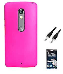 Hermit Back Cover Plus 3.5 MM Auxiliary Cable Plus Screen Guard For Motorola Motox Play -Pink