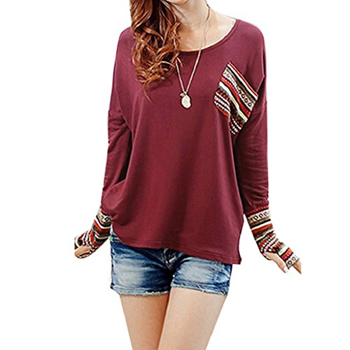 Gillberry Womens Cotton Long Sleeve Round Neck Checked Loose Shirt Blouse Tops (S, Red)