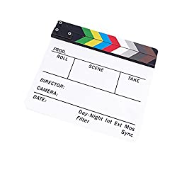 Imported Clapperboard TV Film Movie Clapboard White Board with Colorful Stripe Slate