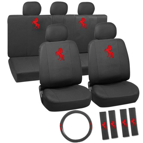 OxGord 17pc Embroidered Seat Covers, Red Horse (Seat Covers Horses compare prices)