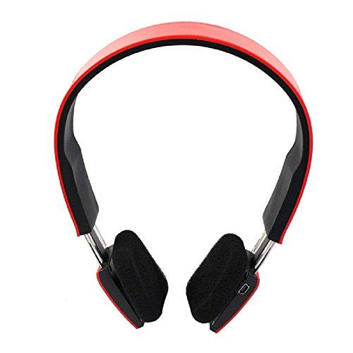 Amjimshop(Tm) Wireless Bluetooth Stereo Headset Headphone Earphone For Iphone Samsung Htc (Red)