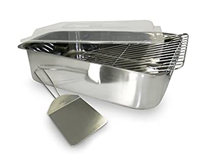 ExcelSteel 4-Piece Stainless Roaster with Cover, Rack and Spatula (4)