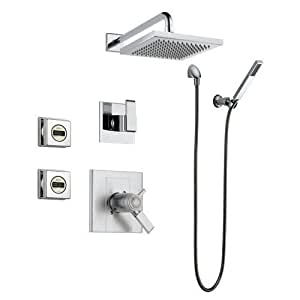 Delta arzo monitor 17 series shower system ch chrome arzo with thermostatic trim diverter trim for Delta bathroom shower systems