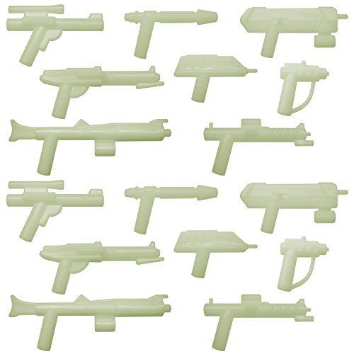 GALAXYARMS 16 pcs Weapon Set (Set 11): Space Weapons 8 Different Glow in the Dark Blasters for your LEGO minifig army NEW! - 1
