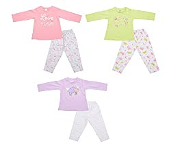 Zero Girls' Clothing Set - 3 Vests and 3 Pants (421_4_12-18 Months, Multi-Coloured, 12-18 Months)