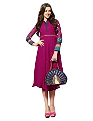 Surat Tex Maroon Color Pure Georgette Party Wear Kurti Designs