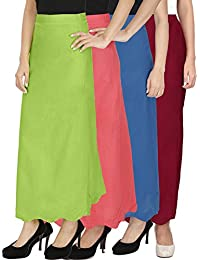 Ngt Pure Cotton Mehndi Green, Maroon, Carrot Red And Royal Blue Petticoat/Underskirt For Womens.