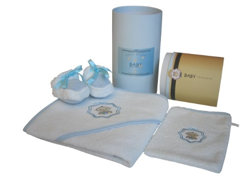 Baby Champagne 3 Piece Bathtub Gift Set and Keepsake Cylinder Box, Blue, 0-6 Months