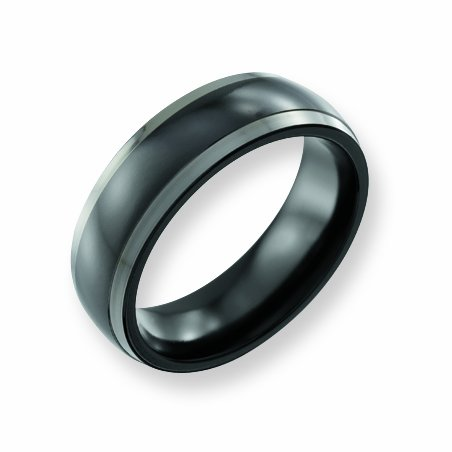 Titanium Two-Tone 7mm Polished Band, Size 12