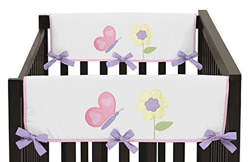 buy Sweet Jojo Designs Pink and Purple Butterfly Teething Protector Cover Wrap Baby Girl Crib Side Rail Guards - Set of 2 for sale