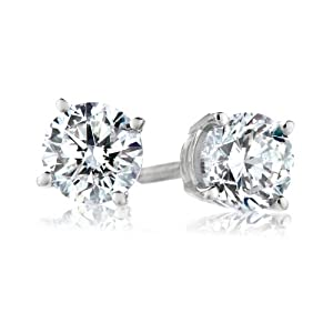 Platinum, Round, Diamond 4-Prong Stud Earrings (1/4 cttw, G-H Color, VS2 Clarity)