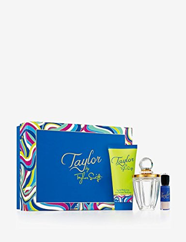 Taylor By Taylor Swift for Women Gift Set: 3.4 Oz Eau De Parfum Spray + 3.4 Oz Body Lotion + shimmering powder brush