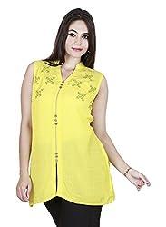 Eessence Women's Silk Kurta (SSFK06_YL_M, Yellow, M)